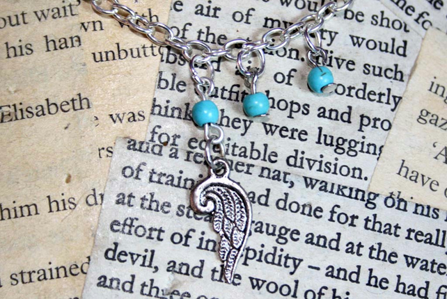 Silver Angel Wing Turquoise Bead Necklace