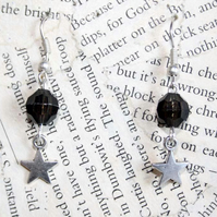 Black Bead Silver Star Dangle Hook Earrings