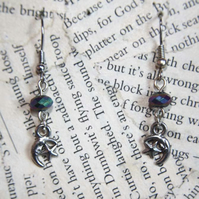 Silver Star and Moon Charm Blue Bead Earrings