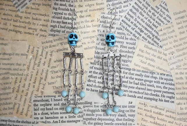 Skull Skeleton Silver Dangle Earrings