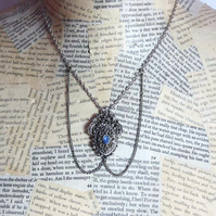 Art Noveau Blue Bead Silver Necklace