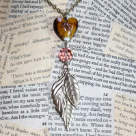 Glass Heart Leaf Charm Gold Necklace