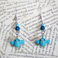 Bluebird Bird Charm Earrings