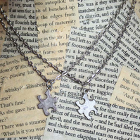 Silver Jigsaw Puzzle Piece Necklace Set