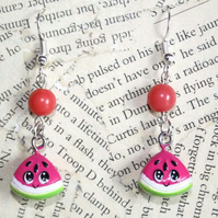 Watermelon Slice Silver Earrings