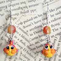 Orange Puffer Fish Charm Earrings