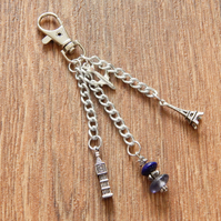 Silver London to Paris Travel Themed Journal, Bag Charm