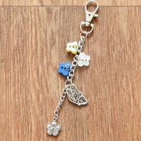 SALE Green, Blue Button Butterfly and Flower Charm Journal Bag Charm