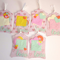 SALE Love Cat and Dog Heart Tag Set