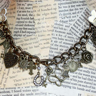 Love Heart Rose Butterfly Lucky Charm Multi Charm Bracelet