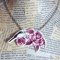 Rockabilly Rose Love Bird Silver Necklace