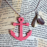 SALE Anchor Sea Shell Silver Necklace