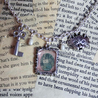 SALE Alice In Wonderland Postage Stamp Silver Charm Necklace