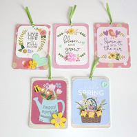 Spring Time Easter Flower Hearts Gift Tag Set