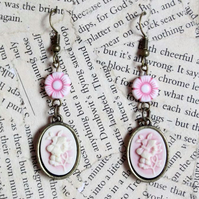 Pink Flower Butterfly Cameo Earrings
