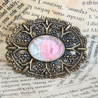Pink Rose Cameo Brooch