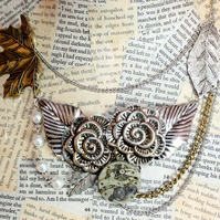 Steampunk Statement Rose Silver Gold Pearl Necklace