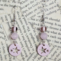 Pastel Pink Star Dangle Earrings