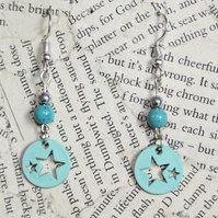 Pastel Turquoise Star Dangle Earrings