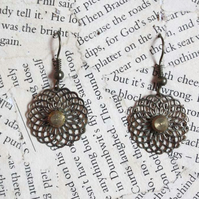 Gold Flower Filigree Steampunk Earrings