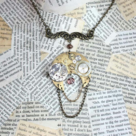 Vintage Steampunk Watch Part Statement Necklace