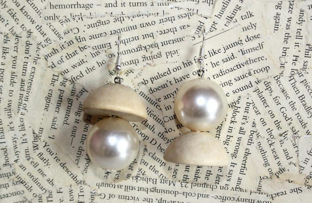 Natural Wood Pearl Bead Silver Earrings