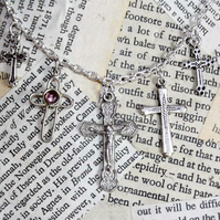 Cross Charm Crucifix Charm Silver Necklace