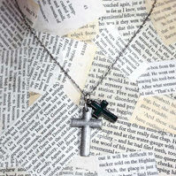 SALE Double Cross Crucifix Charm Necklace