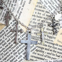 Multi Cross Charm Crucifix Charm Silver Necklace