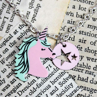 Pastel Pink Unicorn Star Silver Necklace