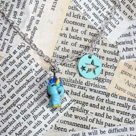 Turquoise Unicorn Star Silver Necklace