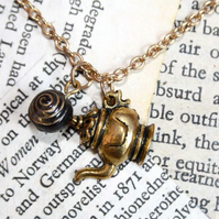 Gold Tea Pot Blue Bead Necklace