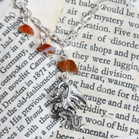SALE Silver Dragon Charm Necklace