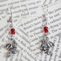 Silver Dragon Charm Red Bead Earrings