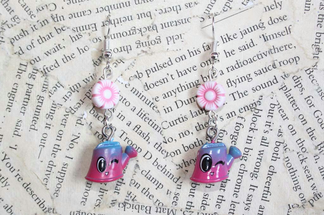 Watering Can Pink Flower Face Earrings