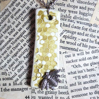 Clay Silver Bee Honeycomb Necklace