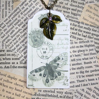 SALE Butterfly Luggage Tag Leaf Necklace