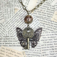 Butterfly Paris Key Flower Necklace