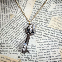 Skeleton Key Flower Charm Necklace