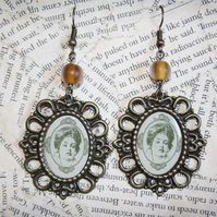 Victorian Lady Portrait Cameo Statement Earrings