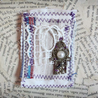 Mixed Textile Fabric Scrap Brooch