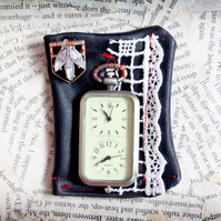 Fob Watch Textile Brooch