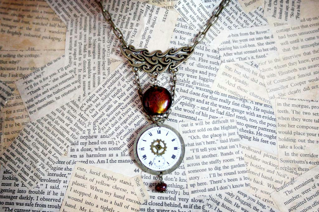 Steampunk Inspired Watch Face Statement Necklace