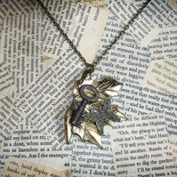 Antique Gold Autumn Leaf Key Charm Necklace