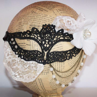 Black Lace White Lace Masquerade Mask Halloween Costume Fancy Dress