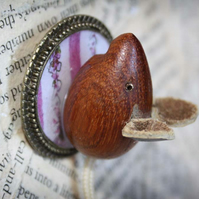 Wooden Mouse Character Statement Brooch