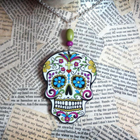 Mexican Skull Day of the Dead Acrylic Statement Necklace