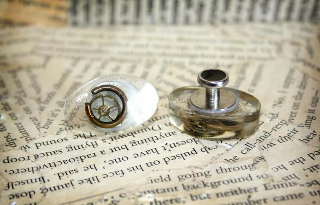 Steampunk Inspired Vintage Watch Part Resin Cufflinks
