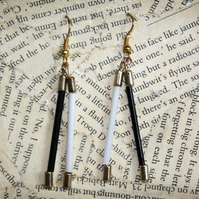 Black and White Monochrome Minimalist Gold Drop Dangle Earrings