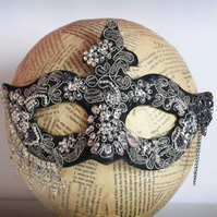 Black and Silver Beaded Crystal Masquerade Fancy Dress Masked Ball Mask